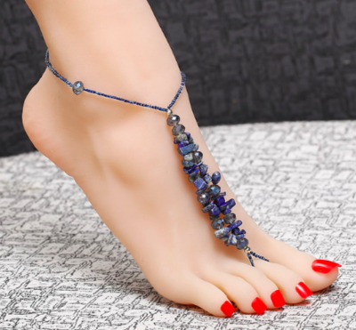 AMETHYST -Pair of Blue Crystal Barefoot Sandals