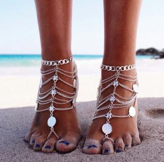 RACHAEL - Pair of Silver Barefoot Sandals