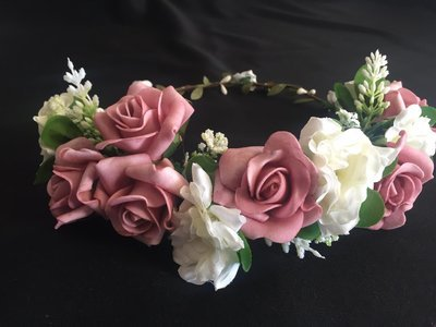 CAMEO - Pink and White Rose Flower Crown