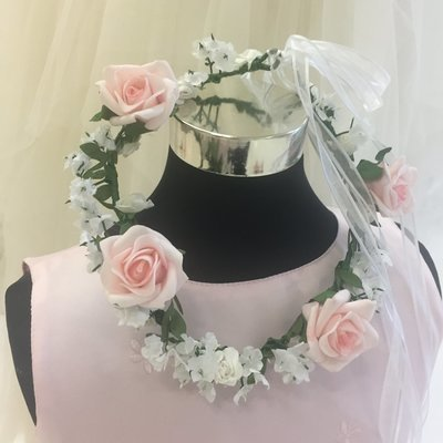ALANNAH - Pink and White Rose Flower Crown