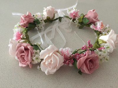 PIPER - Pink and White Rose Flower Crown