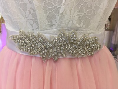 LACEY - White Ribbon Bridal Wedding Sash Belt with Rhinestone Leaf Feature