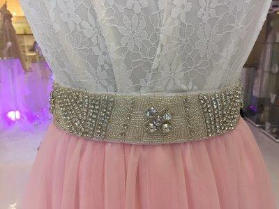 HAZEL - White Ribbon Bridal Wedding Sash Belt with Rhinestone Applique Feature
