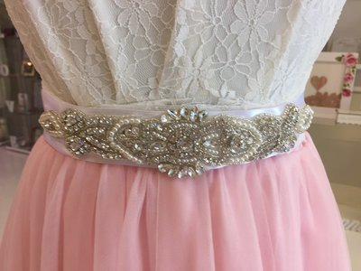 JACINTA - Ivory Wedding Bridal Sash White