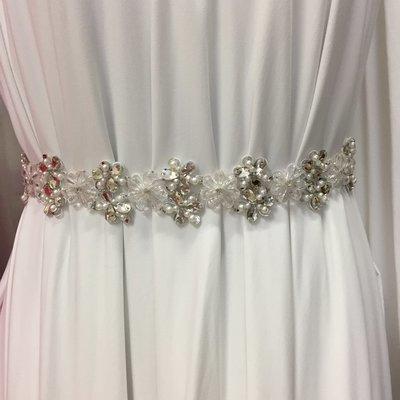CAMILLA - Floral Crystal Sash Belt - Ivory