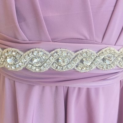 YVONNE - Bling Ribbon Bridal Wedding Sash Belt