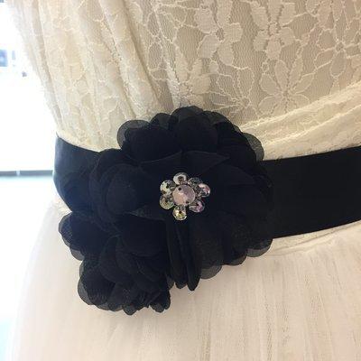 GEMMA - Flower & Crystal Bead Bridal Sash - Black