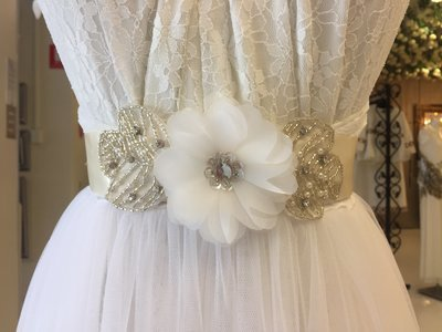 SHARYN - Ivory Ribbon Sash Belt with Flower and Appliqué