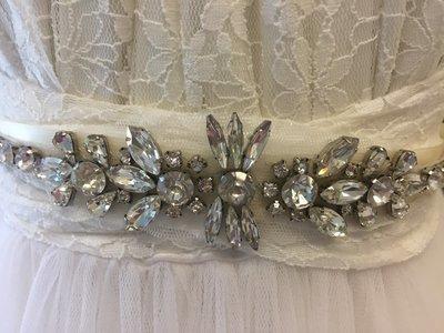 KATE - Rhinestone Wedding Bridal Sash Belt - Ivory