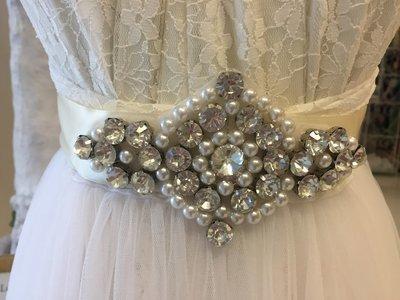 NINA - Ivory Ribbon Bridal Wedding Sash Belt with Rhinestone Centre Motif