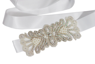 SUSANNE - White Bling Appliqué Sash Belt