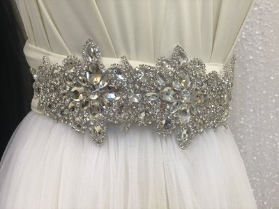 IMELDA - Silver Wedding Bridal Sash Belt