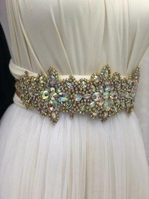 IMELDA - Gold Wedding Bridal Sash Belt