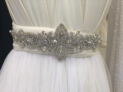 FELINI - Crystal & Rhinestone Flower Wedding Bridal Sash Belt