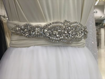 NIKKI - Crystal & Pearl Flower Wedding Bridal Sash Belt