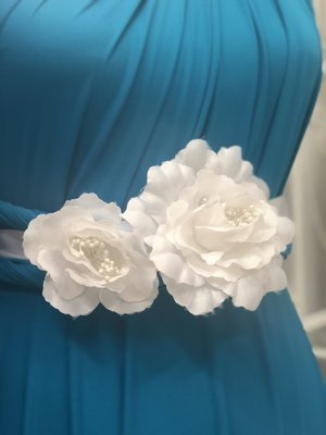 KARLA - White 2 Flower Wedding Bridal Sash