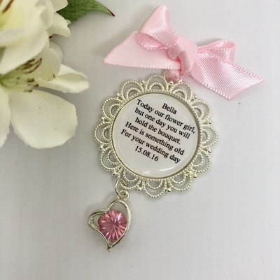 DELTA - Silver Scallop Edge with Pink Heart Flower Girl Charm