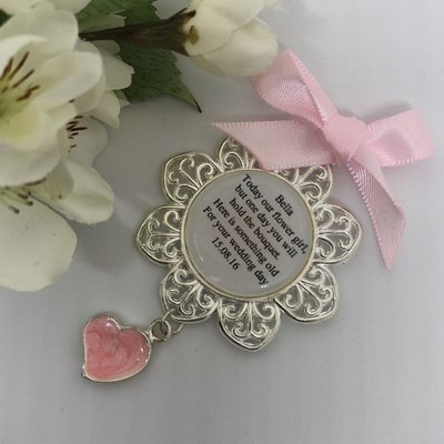 PETAL - Silver Charm with Pink Heart Flower Girl Charm