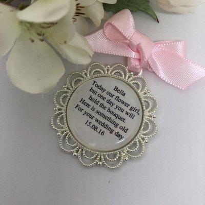 DELTA - Silver Scallop Edge Flower Girl Charm