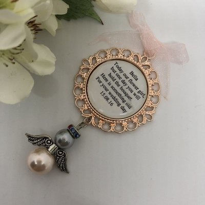 ROSIE - Rose Gold Scallop Edge with Angel Flower Girl Charm