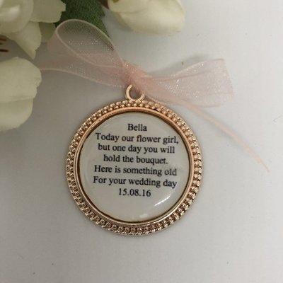 DOTTY - Rose Gold Dotted Edge Flower Girl Charm