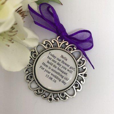 CELIA - Antique Silver Flower Girl Charm