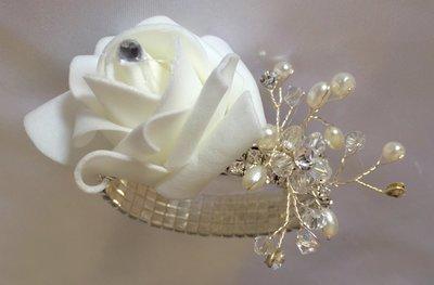 FELECIA - White Rose & Bling Wrist Corsage