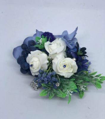 BECKY - Blue Floral Wrist Corsage