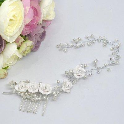 CINTA -  Crystal & Pearl Wedding Bridal Hair Comb