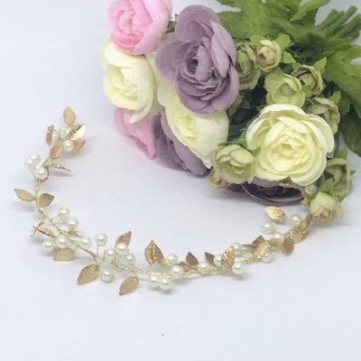 LAINEY  -  Gold Leaf & Pearl Bridal Wedding Head Piece