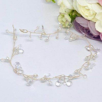 CASSANDRA -  Gold Pearl & Beaded Bridal Hair Vine