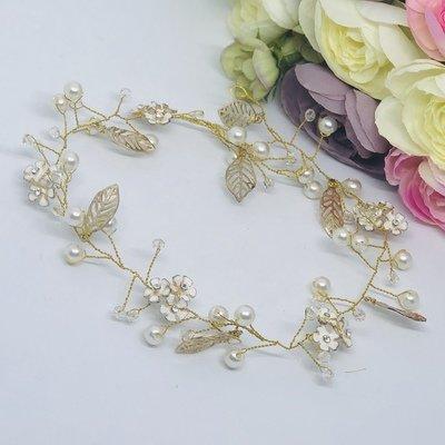 ERIN  -  Gold Leaf Wedding Bridal Hair Piece