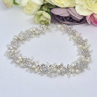 VALLEY - Silver Crystal Bridal Wedding Head Piece