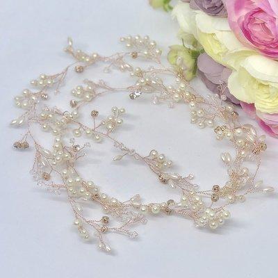 ROSIE - Rose Gold Pearl Wedding Bridal Hair Vine