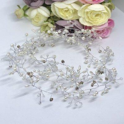 KATHLEEN - Crystal & Pearl Wedding Bridal Hair Vine