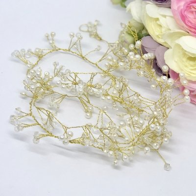Greta - Gold Pearl  Hair Vine