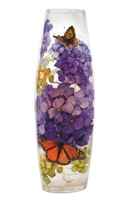 Tall floral vase with butterflies lamp