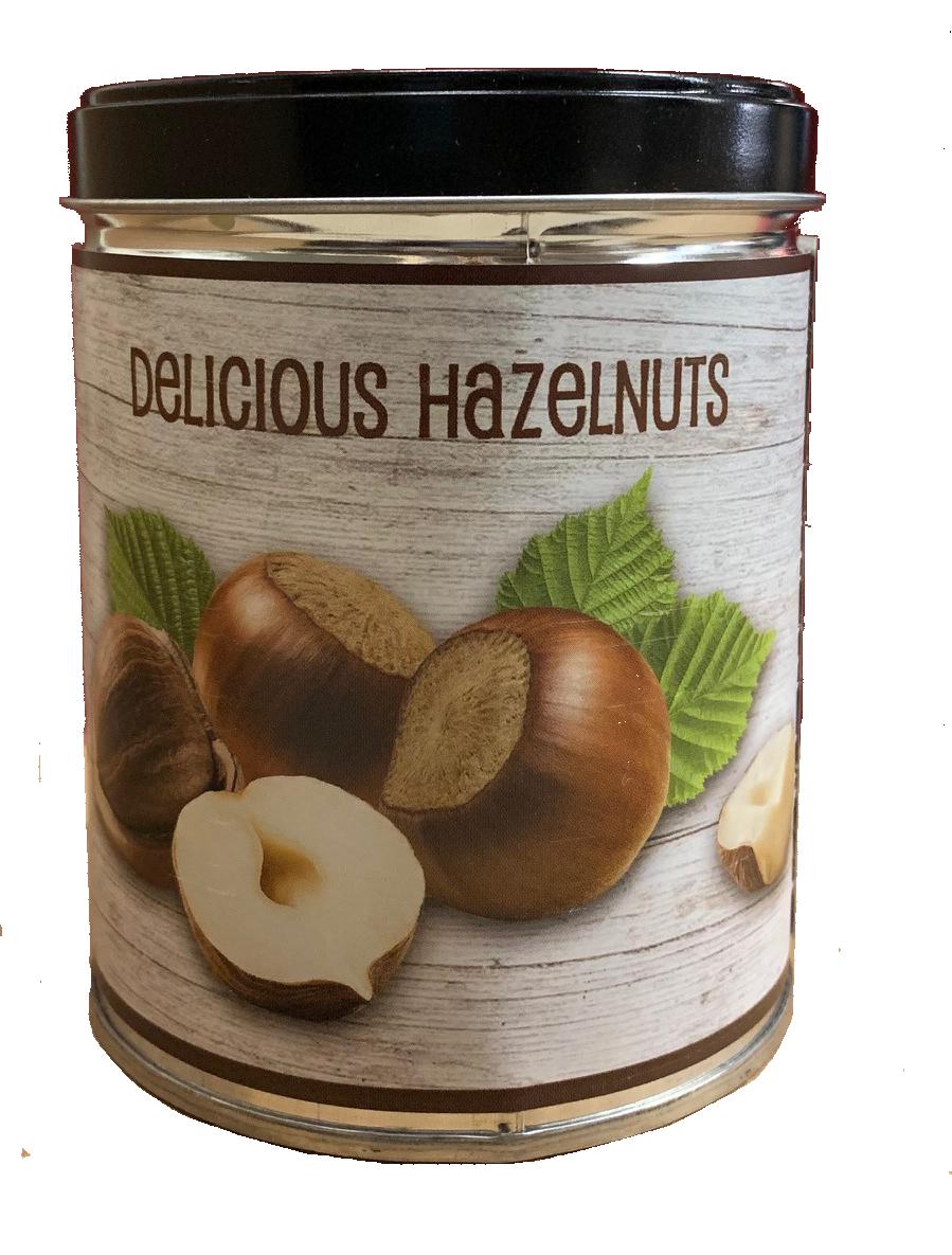 """HAZELNUT IN """"DELICIOUS HAZELNUTS"""" TIN"""