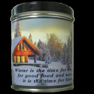 Balsam Pine in Winter Scene Tin