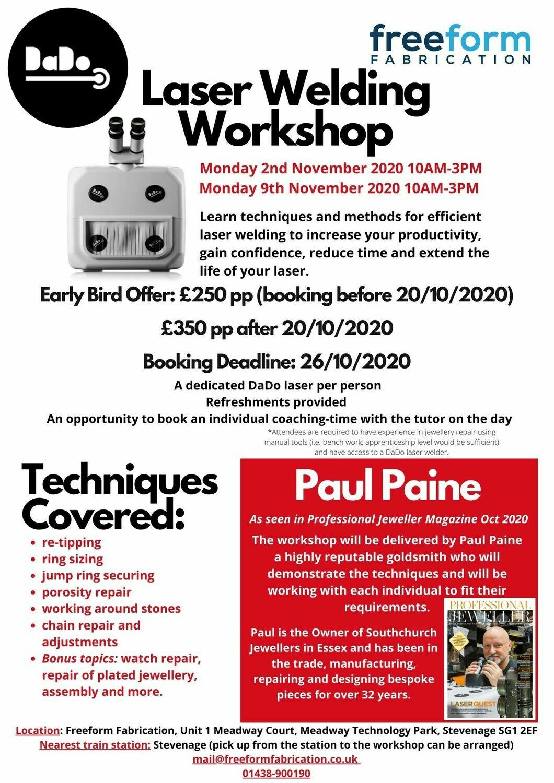 DaDo Workshop 2nd Nov 2020 - EARLY BIRD OFFER