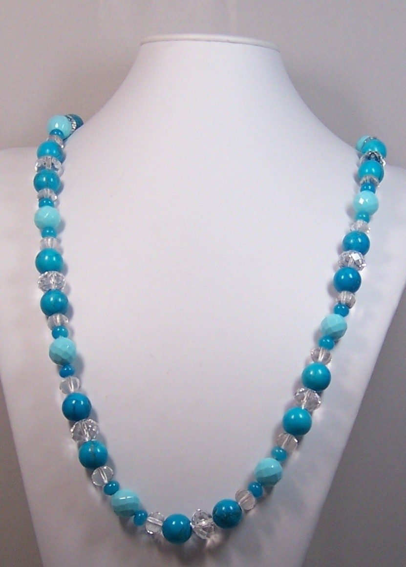 Chalk Turquoise & Aventurine With Rock Crystal Necklace