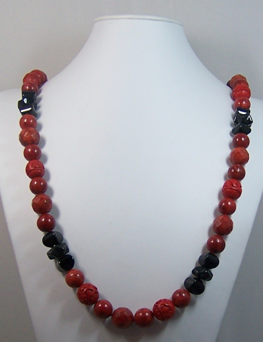 Coral & Onyx Long Necklace
