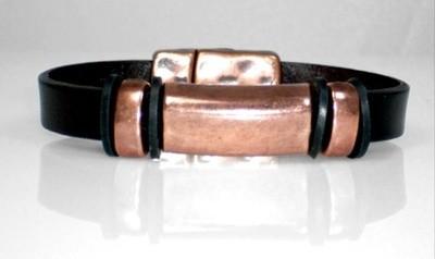 Brown  black  flat leather bracelet
