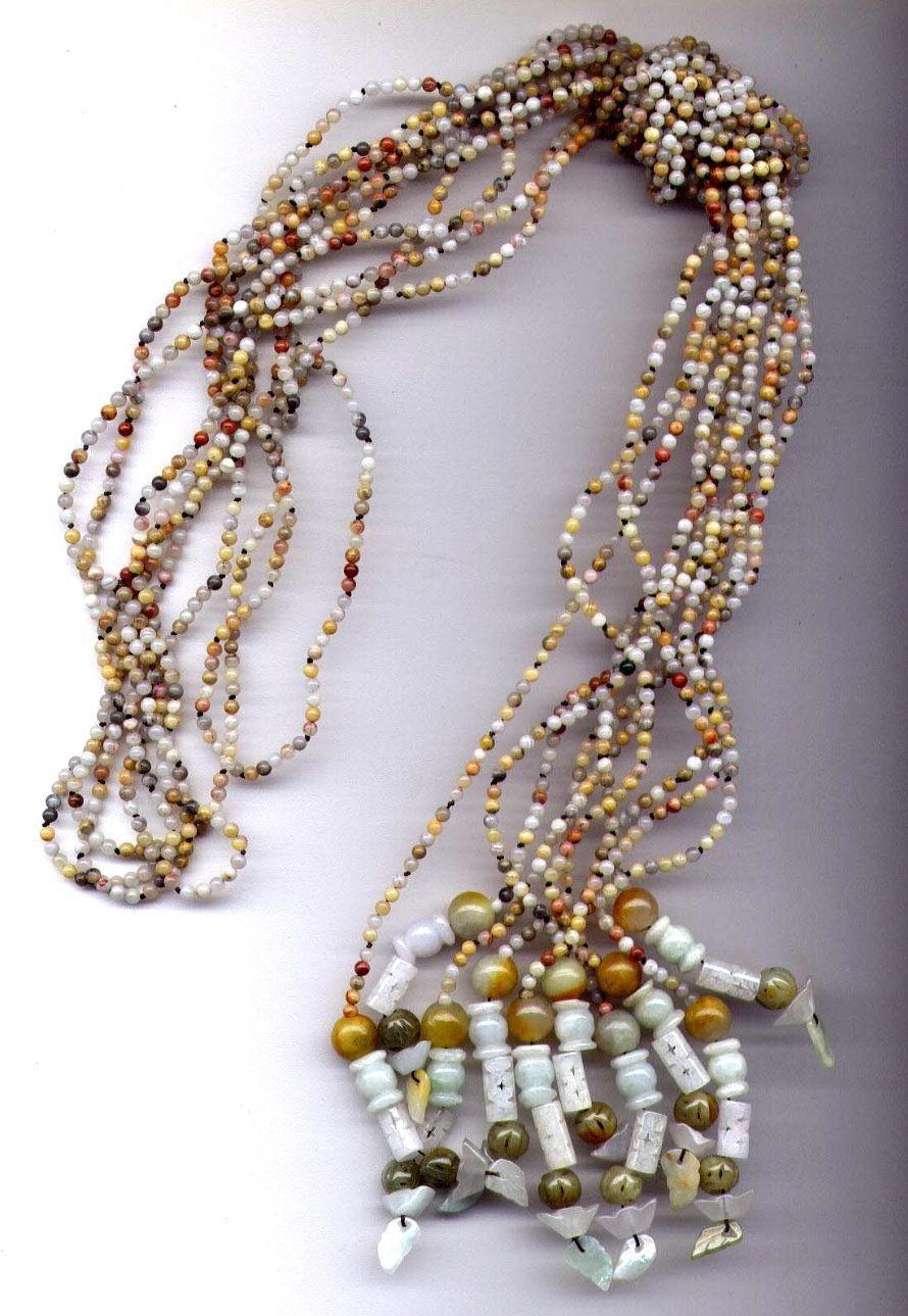 Jade Gemstones Lariat Necklace Belt Jewelry