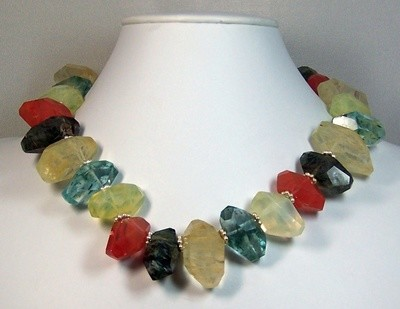 Multi colored quartz nugget necklace with sterling silver findings