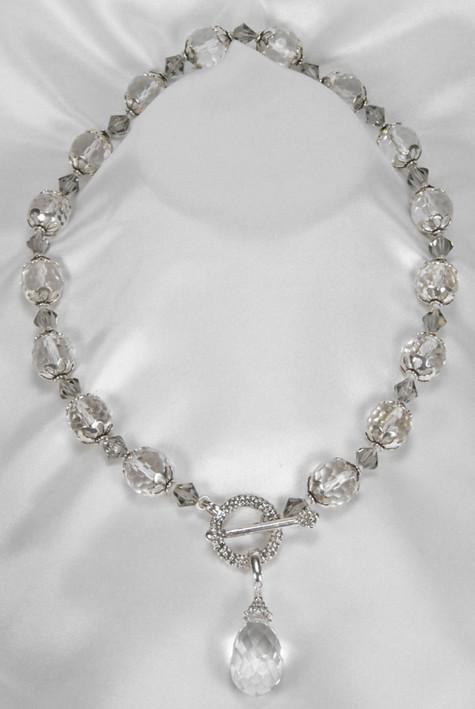 Rock & Swarovski crystal with silver