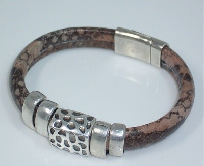 Animal print leather bracelet