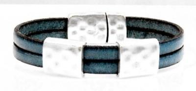 Teal flat leather bracelet