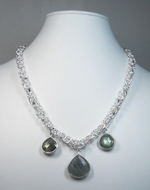 Dragon head chain w/labradorite