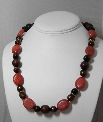 Coral & bamboo necklace